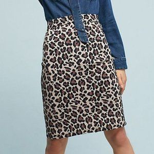 NEW Anthro Maeve Leopard Back Zip Pencil Skirt LP